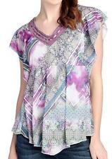 NEW - One World Printed Knit Flutter Sleeve Lace Detail Pointed Hem Top - Sz 1X