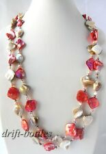 57'' Red White Shell Crystal Pink Freshwater Pearl Necklace