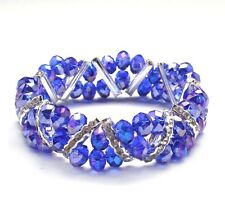Bleek2Sheek Cobalt blue Crystal Glass and Rhinestone Stretch bracelet