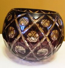 """Cut to Clear Crystal Glass Rose Bowl Vase Bohemian Amethyst Purple  6""""X6"""" Dots"""