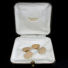 Tiffany & Co Retro Cufflinks  Men's Vintage 14k Yellow Gold Cufflinks Orig. Box