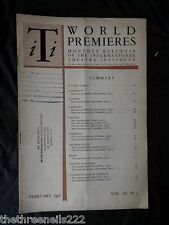 INTERNATIONAL THEATRE INSTITUTE WORLD PREMIER - FEB 1958 VOL 9 #5