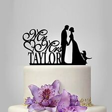 Personalized Mr Mrs Last Name Bride Groom With Dog Wedding Cake Topper Keepsake