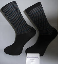 Black Socks with Black Heel and Toes and Grey and Blue Stripes