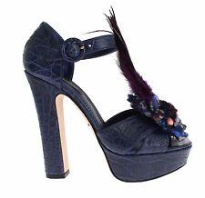 NWT $3800 DOLCE & GABBANA Caiman Crocodile Leather Crystal Shoes EU37 / EU37.5