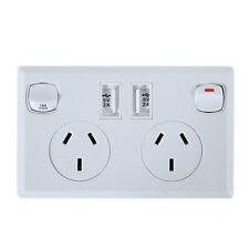 Dual USB Australian Power Point Home Wall Power Supply AU Plug Socket Switch Kit