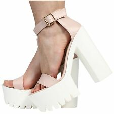 WOMENS LADIES ANKLE STRAP PLATFORM HIGH HEEL CLEATED SANDALS SHOES SIZE 3-8