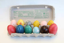 Whimsical Colorful Paper Mache Easter Eggs - Set of 12  -  FREE SHIPPING