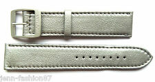 Locman 22 mm Metallic-Silver/Pearl-Grey Lorica Leather Watch Strap w/Buckle NEW