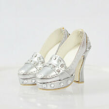 "16"" Tonner Ellowyne Wilde Cami 50MM Doll Silver Shoes/Pumps/chaussures de poupée"