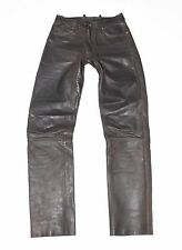 "Brown Leather HEIN GERICKE Biker Motorcycle Trousers Pants Jeans Sz 48 W28"" L33"""