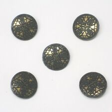 One Hole Buttons Lace Black Gold 2cm New
