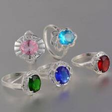 New Wholesale 5PCS Mixed LF 925 Silver Plated CZ Fashion Rings 7-10