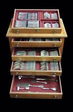 ODIOT STERLING SILVER FLATWARE, TUREENE, CABINET, 174pcs., 18 SVG pc, POST 1940