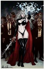 "LADY DEATH ART PRINT COVER F ""ZOMBIES"" Signed by  BRIAN PULIDO"