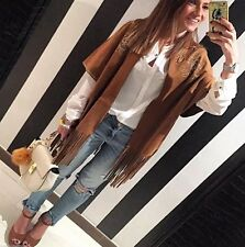 "Zara "" Sold Out"" Fringed Suede Look Studded Boho Kimono Jacket Size M"