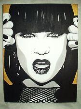Canvas Painting Jessie J Portrait Gold B&W Art 16x12 inch Acrylic
