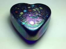 Signed Arte Vargas iridescent blue heart shaped paper weight made in Canada
