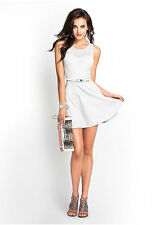 NWT GUESS $98 Fit & Flare textured Mesh dress Light Grey Off White M 6 7