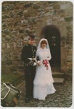 Vintage 80s PHOTO Young Wedding Couple Edinburgh? Glasgow? Scotland