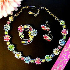Vtg LISNER Dreamy Pastel AB Rhinestone FLORET NECKLACE BROOCH EARRINGS SET MINTY