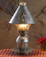 Hurricane Metal Table Lamp w/ Shade Rustic Primitive Country Farmhouse Light