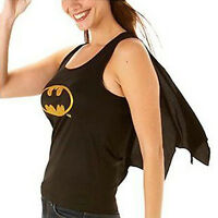 Womens Fancy Dress Costume Top & Cape Batgirl Official Outfit Back Size 12-14