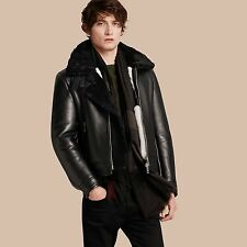 £2499 BURBERRY BLACK SHEEPSKIN SHEARLING JACKET COAT LEATHER IT48 US38 MEDIUM M