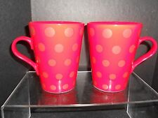 CRATE AND BARREL MUG SET IN RED & COPPER POLKA DOTS