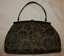vintage 50's tapestry carpet brocade doctor's style extra large hand bag MINT
