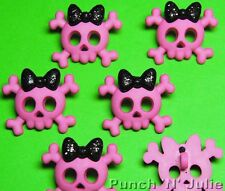 PINK SKULLS WITH BLACK GLITTER BOWS - Emo Punk Kitsch Dress It Up Craft Buttons