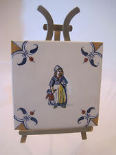 VINTAGE ROYAL DELFT DE PORCELEYNE FLES PORCELAIN TILE GIRL LADY HOLDING DOLL