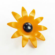 Vintage Bakelite Button XL Daisy Flower Black Eyed Susan 2-Color Butterscotch