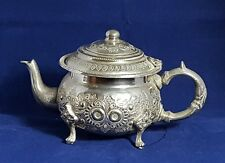 Beautiful Vintage Silver Tone Plated Middle Eastern  Arabic Hallmarked Teapot