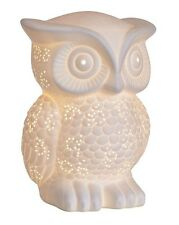 White Porcelain Owl Table Side Lamp Nursery Kitsch NEW Christmas Gift Woodland