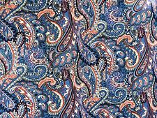 Blue Paisley Polyester Georgette Chiffon Dress Fabric Material 60s by the metre
