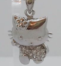 NEW HELLO KITTY Sterling Silver 925 Pendant Crystal Necklace Charm