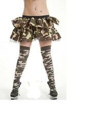 SEXY ARMY/CAMOUFLAGE COTTON RICH OVER THE KNEE SOCKS U.K SIZE 4 -6 1/2.