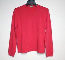 Benetton - L - Solid Coral Pink 100% Wool - Long Sleeve V-Neck Sweater