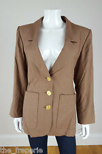 *YVES SAINT LAURENT* RIVE GAUCHE VINTAGE SILK BROWN SINGLE BREASTED BLAZER 44