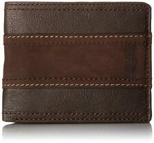NEW LEVI'S PREMIUM CLASSIC LEATHER BIFOLD ID CREDIT CARD WALLET BROWN 31LV2414