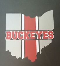 """Ohio State Buckeye Decal 3 Colors Silver, Red & White 5.25""""x 5.75"""""""