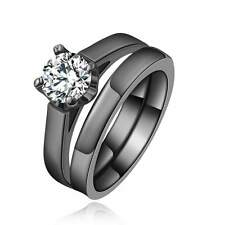 Delicate Size 8  2Pcs Women Black 18K Gold Filled White Topaz Wedding Ring Sets