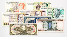 8 different vintage Brazil paper money 1970's-80's Au-Unc.