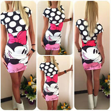 New Womens Summer Minnie Floral Casual Party Bodycon Tunic Tops Short Mini Dress