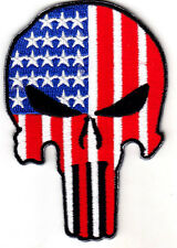 PUNISHER SKULL - USA - AMERICAN FLAG -  MILITARY -ARMY TACTICAL - IRON ON PATCH