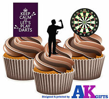 12 X Darts Player Dartboard Keep Calm Mix - EDIBLE WAFER CAKE TOPPERS STAND UPS