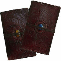 "9"" Handmade Real Leather Diary Journal Sketchbook with Stone & Cartridge Paper"
