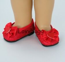 "Lovvbugg Red Heart Glitter Shoes for 18"" American Girl Doll Clothes Wow! Pretty!"