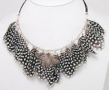 "SO CUTE 18.5"" Spotted Polka Dot Feather Necklace Retail $100"